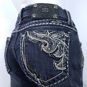 MISS ME Jeans Embellished Embroidery Front Pocket